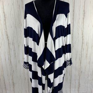 TORRID Waterfall Navy/White Cardigan Sweater 2